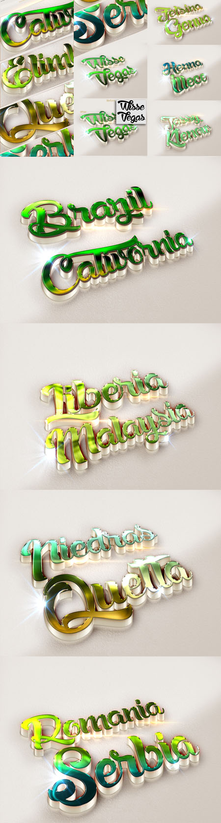 10 3D Text Effects Green Colour for Photoshop